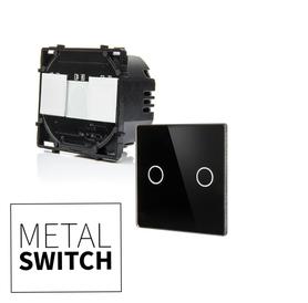 MetalSwitch moduł wyłącznika podwójnego schodowy + szkło montażowe