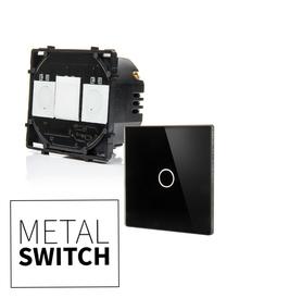 MetalSwitch moduł wyłącznika pojedynczego schodowy + szkło montażowe