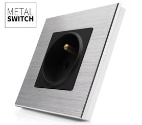 MetalSwitch gniazdo elektryczne czarne pojedyncze ramka srebrna alu