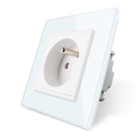 Gniazdo FR pojedyncze w ramce szklanej zestaw kolor biały