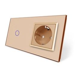 Wyłącznik dotykowy zestaw 1+G złoty