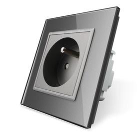 Gniazdo FR pojedyncze w ramce szklanej zestaw kolor szary