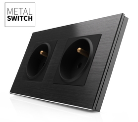 MetalSwitch gniazdo elektryczne czarne x2 ramka 2 czarna alu
