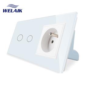 Wyłącznik dotykowy zestaw 2+G biały WELAIK