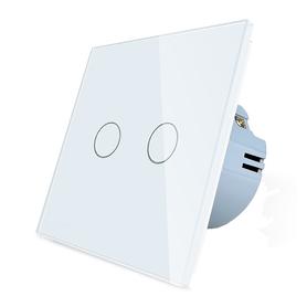 Włącznik dotykowy podwójny biały zestaw