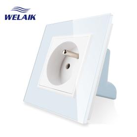 Gniazdo FR w ramce szklanej zestaw kolor biały WELAIK