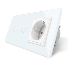 Włącznik dotykowy podwójny z gniazdem zestaw