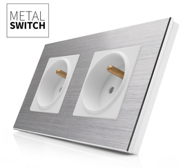 MetalSwitch gniazdo elektryczne białe x2 ramka 2 srebrna alu
