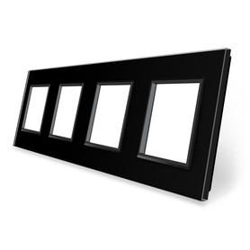 Ramka szklana 4 czarna do gniazdek-modułów WELAIK