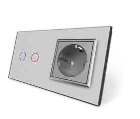 Wyłącznik dotykowy zestaw 2+G szary