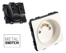 MetalSwitch moduł gniazda pojedynczego biały