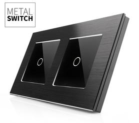 MetalSwitch wyłącznik dotykowy pojedynczy czarny alu podwójny