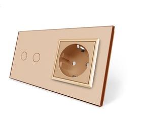 Wyłącznik dotykowy zestaw 2+G złoty