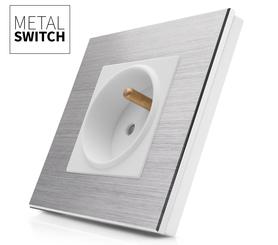 MetalSwitch gniazdo elektryczne białe pojedyncze ramka srebrna alu