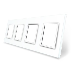 Ramka szklana 4 biała do gniazdek-modułów WELAIK