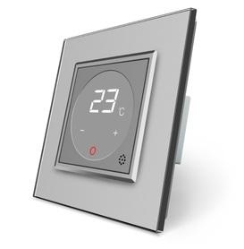 Termostat pokojowy regulator temperatury szary komplet z ramką szklaną