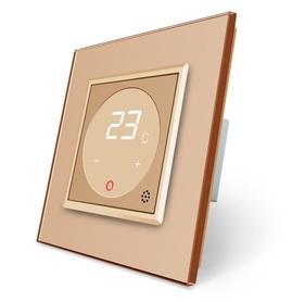 Termostat pokojowy regulator temperatury złoty komplet z ramką szklaną