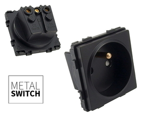 MetalSwitch moduł gniazda pojedynczego czarny