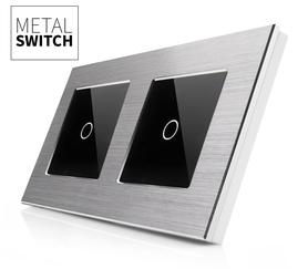 MetalSwitch wyłącznik dotykowy pojedynczy srebrny alu podwójny