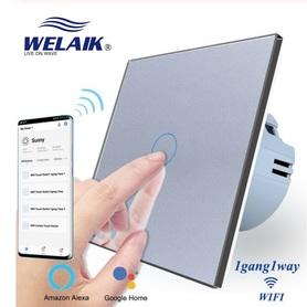 Włącznik dotykowy WIFI pojedynczy zestaw szary WELAIK ®