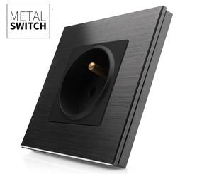 MetalSwitch gniazdo elektryczne czarne pojedyncze ramka czarna alu