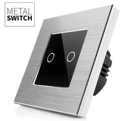 MetalSwitch wyłącznik dotykowy podwójny srebrny alu