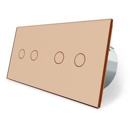 Wyłącznik dotykowy zestaw 2+2 złoty