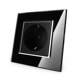Gniazdo pojedyncze w ramce szklanej czarne-chrom zestaw