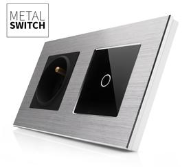 MetalSwitch gniazdo elektryczne czarne z wyłącznikiem pojedynczym srebro