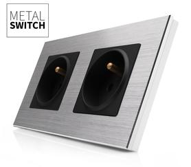 MetalSwitch gniazdo elektryczne czarne x2 ramka 2 srebrna alu