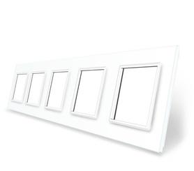Ramka szklana 5 biała do gniazdek-modułów WELAIK