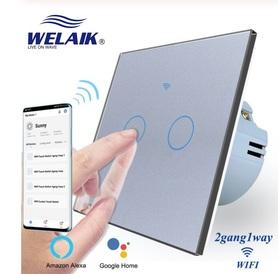 Włącznik dotykowy WIFI podwójny szary zestaw WELAIK ®