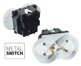 MetalSwitch moduł gniazda podwójnego biały