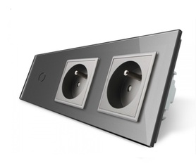 Włącznik dotykowy 1+G+G szary FR zestaw