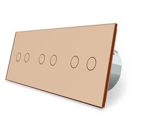 Wyłącznik dotykowy zestaw 2+2+2 złoty