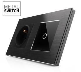 MetalSwitch gniazdo elektryczne czarne z wyłącznikiem pojedynczym czarne