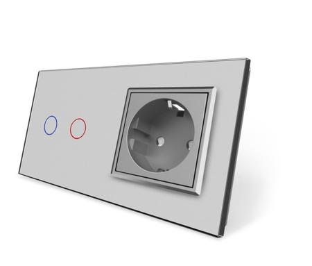 Wyłącznik dotykowy zestaw 2+G szary (1)