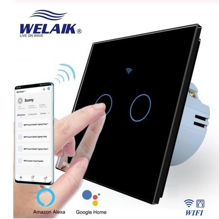 Szklany włącznik do rolet WIFI zestaw czarny WELAIK ® (2)