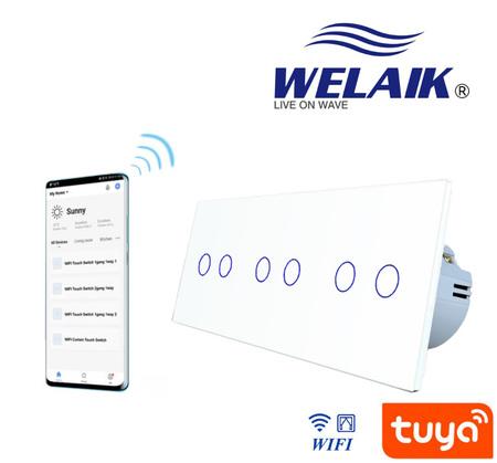 Szklany Włącznik potrójny roletowy WIFI zestaw biały WELAIK ® (2)