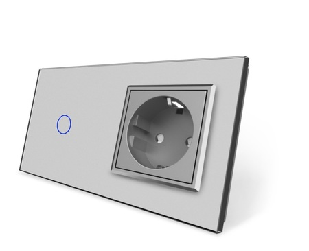 Wyłącznik dotykowy zestaw 1+G szary (1)