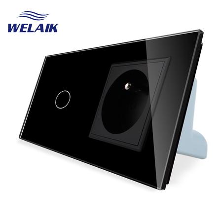 Wyłącznik dotykowy zestaw 1+G czarny WELAIK (1)