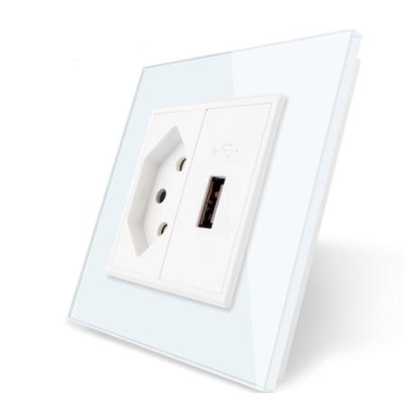 Gniazdo pojedyncze wąskie + USB ładowarka 5V zestaw kolor biały (1)